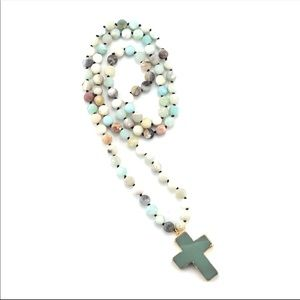 Jewelry - New! Natural Stone Amazonite Cross Necklace
